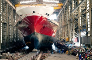 The Oceanex Connaigra, launch from the Shipbuilding Hall at Flensburger Shipyard. (CNW Group/OCEANEX INC.)